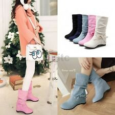 Sweet Bowknot Hidden Wedge Heels Canvas Pull On Womens Mid-calf Boots Shoes Size