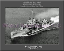 USS Jarvis DD 799 Personalized Canvas Ship Photo Print Navy Veteran Gift