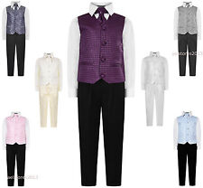 Boys Swirl Waistcoat Suit, Page Boy Suits, Boys Wedding Suits, Black Trousers