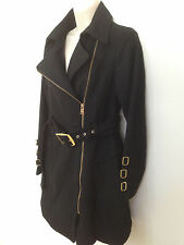 (NWOT) BEBE Womens Black Asymmetrical Belted Wool-Blend Trench Coat Size M
