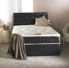 4FT6 DOUBLE BLACK LEATHER BED, MEMORY MATTRESS, DIAMANTE HEADBOARD DOUBLE BED
