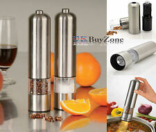 Light Up Electric Salt & Pepper Mill Stainless Steel Electronic Grinder Pots
