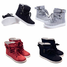 High Top Canvas Womens Fashion Lace Up Casual Athletic Sneakers Shoes 4/5/6/7/8