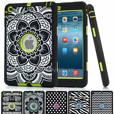 Shockproof Heavy Duty Hybrid Laser Printed Rubber Hard Case Cover For Apple iPad