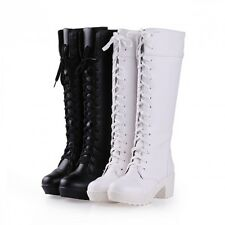 Fashion Platfrom Block Chunky Heel Knee High Boot Women Knight Gothic Shoes Size
