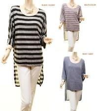 Celebrity Women Plus Hi-Lo Stripes 3/4 Sleeve Tunic Knit Blouse Shirt Top 1 2 3X
