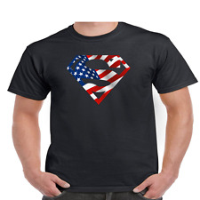 Men's American Flag Superman Logo Shield T-Shirt • Tee Patriotic USA