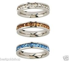 QVC Steel by Design Set of 3 Princess Cut Stack Ring Crystal Accents J278852