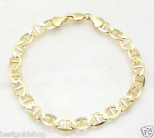 8mm Mens Flat Mariner Gucci Link Chain Bracelet Real 10K Yellow Gold 11.1gr