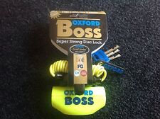 Oxford Boss Yellow Motorcycle, Motorbike Security Disc Lock Brand New R.R.P. 39