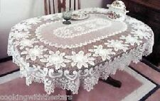 Heritage Lace ROSE Tablecloth Rectangle or Oval colors Ecru or White Made in USA