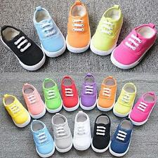 Kids Casual Shoes Canvas Athletic Lace Tennis Girls Boys Rubber Sole Shoes A45