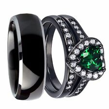 His Her Titanium Created Emerald Sterling Silver Couple Wedding Ring Band Set