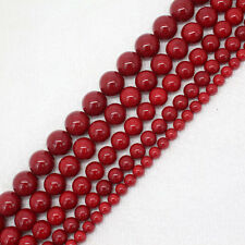 6-14mm Deep Red shell Bead mother Pearl Round DIY Loose Beads 15""
