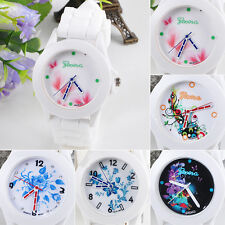 Women's New Geneva Flowers Printed White Silicone Band Analog Quartz Wrist Watch
