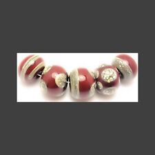 Handmade Lampwork Glass Beads Round Coral Silvered Ivory 12x8mm 2mm Holes LGS