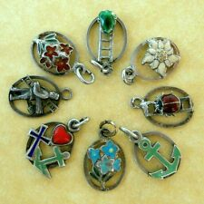 Vintage German Enamel Silver Charms Good Luck Floral Multi Theme Choose from 8
