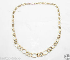 """16"""" 17"""" 18"""" Ladies Graduated Figaro Chain Necklace Real 14K Yellow Gold 6.3gr"""