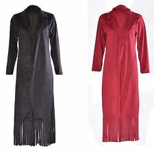 Womens Faux Suede Fringed Tassel Long Maxi Cardigan Long Jacket