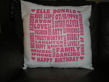 PERSONALISED WORD ART LARGE CUSHION COVER ANY TEXT COLOUR ANY OCCASION FREE P&P
