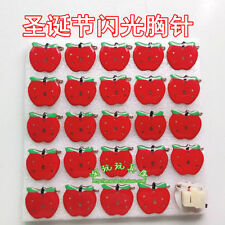Lot Christmas Apple Flashing LED Light Up Badge/Brooch Pins Party Gifts Y163