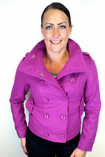 Womans Wool Jacket Purple Double Breasted Hip Length Jacket UK Sizes 6 8 10