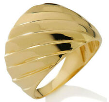 All Shiny Domed Graduated Ribbed Status Ring Genuine Solid 14K Yellow Gold