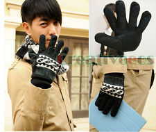 Man's Korean Fashion Knit Motorcycle Bike Cycling Sports Thicken Warm Gloves