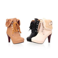 Ladies Women Platforms High Heel Lace up Winter Warm Lining Ankle Boots Shoes 01