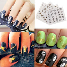 3D Nail Art Zipper Peacock Feather Nail Wraps Water Transfers Stickers Decal DIY