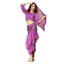 New Belly Dance Costume Lantern Top Gold Wavy Pant Bloomers Hip Scarf Wrap Skirt