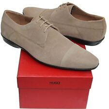 HUGO BOSS Brown Men's Suede Fashion Leather Oxford Dress Shoes Tan Beige Casual