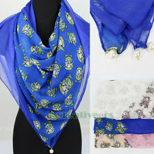 Fashion Women Pearls Carton Skull Stitching Soft Mantilla Long Scarf Shawl Wrap
