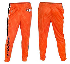 Denver Broncos Blue White Stripe Tapered Zip Leg Orange Pants Licensed NFL Klew