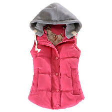 Women Autumn Winter Hooded Vest Waistcoat Thick Warm Collar Female Jacket Coat