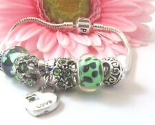 European Style Sterling Silver Mint Green Murano Beads With Heart Charm