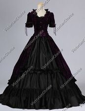 Victorian Renaissance Gothic Velvet Ball Gown Dress Steampunk Costume PURPLE 061