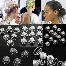 New Wedding Diamante Crystal Hair Twists Swirls Pins Spirals Pearl Flower Silver