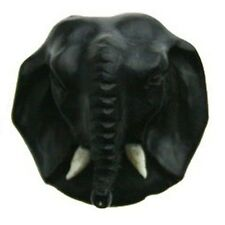 Double Flare Carved Elephant Face Black Wood Organic Ear Plugs /Tunnels