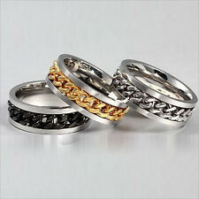 Fashion Classic Mens Silver Gold Curb Chain Center Stainless Steel Band Ring 8MM