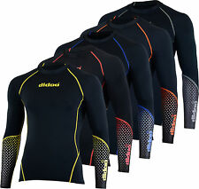 Men compression base layer body armour skin fit top long sleeve under shirt NEW