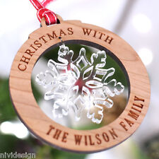 Personalised Christmas Family Tree Decorations Snowflake Bauble Gift