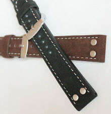 0 9/10in PILOT STRAP PILOT'S AVIATOR retro Style BRACELET MILITARY LEATHER/Suede