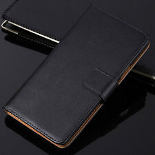 Black Genuine Leather Flip Wallet Stand Case Cover For Sony Xperia Series Model