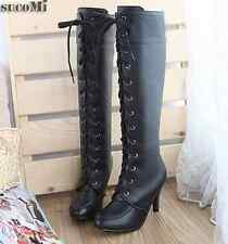 Womens Lace Up Boot Knee High Combat High heel Military Boots Faux Leather Size