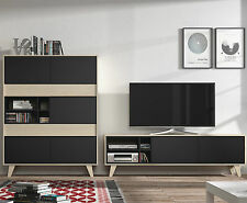 Agna Mid Century Living Room Furniture Set TV Unit + Storage Cabinet Grey / Oak