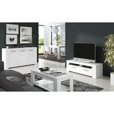 Ansel Living Room Furniture Set TV Unit Sideboard Coffee Table Chunky White Wood
