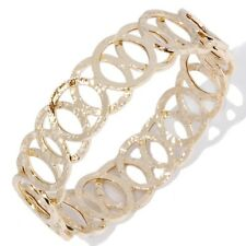 Technibond Hammered Circle Bangle Bracelet 14K Yellow Gold Clad Sterling Silver