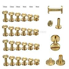 4-15mm Screwback Button Stud Screw Brass Nail Leather Belt Chicago Rivet
