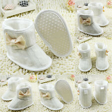 Toddler Baby Girls Knit Snow Boots Bowknot Newborn Soft Sole Fleece Crib Shoes